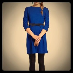 Anthropologie Pleated Ponte Dress with Belt